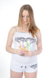 Pregnant woman on white background Royalty Free Stock Photo