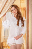 Pregnant woman in white shirt Royalty Free Stock Images