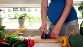 Pregnant woman wife sharpening knife with special tool at home kitchen. Big female stomach at pregnancy time. Static closeup shot. 4K UHD stock video