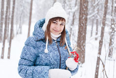 Pregnant woman in winter forest Stock Photography