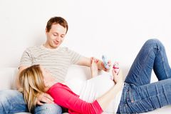 Pregnant Woman With Her Husband Royalty Free Stock Images