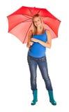 Pregnant Woman With Umbrella Stock Photos