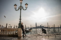Pregnant woman with wonderful Venice landscape Royalty Free Stock Photos