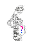 Pregnant woman word cloud with question mark Royalty Free Stock Images
