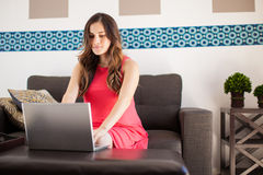 Pregnant woman working at home Royalty Free Stock Photography