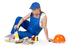 The pregnant woman in working overalls Royalty Free Stock Image
