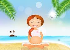 A pregnant woman in yoga meditation Stock Photos