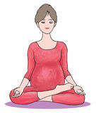 Pregnant woman in yoga position. Pregnant woman meditating to relax her body tension Stock Photography