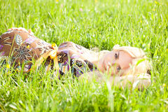 Pregnant Woman. Young Pregnant Woman In The Grass royalty free stock photos