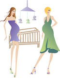 Pregnant women. Two beautiful young pregnant women talking near the baby's bed Royalty Free Stock Photos