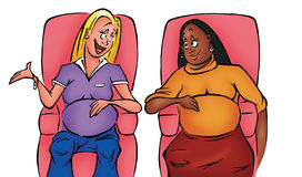 Pregnant women. Cartoon illustration of two pregnant women Royalty Free Stock Images