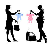 Pregnant women. Vector illustration of two pregnant women during the shopping Royalty Free Stock Photography