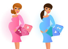Pregnant women awaiting baby boy and baby girl. Pink and blue mom awaiting baby boy and girl. Vector Illustration Stock Photo