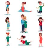 Pregnant women characters in different poses set. Pregnancy time. Happy mom expecting baby. Vector flat illustration. Royalty Free Stock Photos