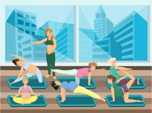 Pregnant women do yoga with instructor. Vector image. City on background. Easy editable Stock Image