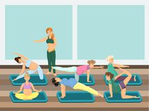 Pregnant women do yoga with instructor. Vector image. Simple background. Easy editable Stock Images
