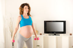 Pregnant Women Doing Breathing Exercises Stock Image