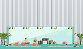 Pregnant women are doing exercise and yoga in fitness center. Gym interior vector illustration. Stock Photo