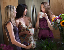 Pregnant Women Enjoying Cofee Stock Images