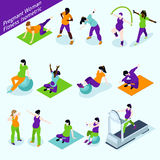 Pregnant Women Fitness Isometric Set Royalty Free Stock Images