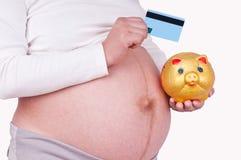Pregnant women Hold a bank card Stock Photos