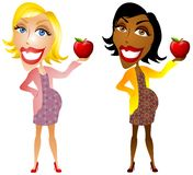 Pregnant Women Holding Apples. An illustration featuring 2 pregnant women holding red apples to represent healthy eating and nutrition during pregnancy Royalty Free Stock Image