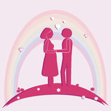 Pregnant women and husband. Vector illustration. Royalty Free Stock Photos