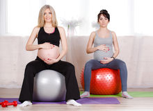 Pregnant women with large gymnastic balls. Two happy pregnant women,brunette and blonde,dressed in sportswear,execute a complex of exercises for pregnant women royalty free stock images