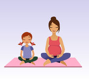 Pregnant women and little girl doing yoga. Asana pose and healthy lifestyle on lotus background. Vector illustration Stock Photo