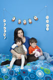 Pregnant women and little kids Stock Image