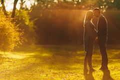 Happy couple in autumn park Royalty Free Stock Photos