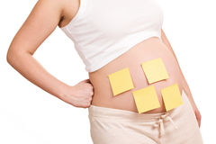 Pregnant women with notepaper on her belly Royalty Free Stock Photography