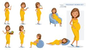 Pregnant women. Set. many views of pregnant. smile happy, hold baby shoes, drink milk from a glass, sit on a sofa, Holds vegetable tray, eating, exercise and Vector Illustration
