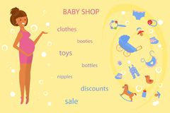 Pregnant women shopping vector illustration