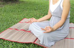 Pregnant women sitting meditation in the park. Stock Image