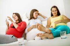 Pregnant women on sofa Stock Photo