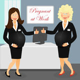 Pregnant at work Stock Images