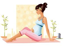 Pregnant yoga vector illustration