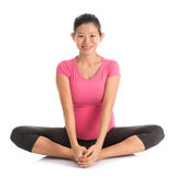 Pregnant yoga butterfly position Royalty Free Stock Photos