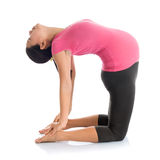 Pregnant yoga position camel pose. Stock Photo