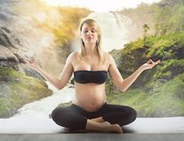 Pregnant yoga relax Stock Image
