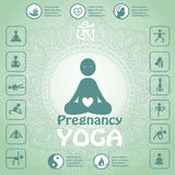 Pregnant yoga symbol. Infographics, yoga icons Stock Photos
