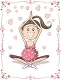 Pregnant Yoga Vector Cartoon. Illustration of pregnant woman in a prenatal yoga session Royalty Free Stock Photography