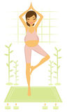 Pregnant yoga woman Stock Images