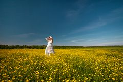Pregnant young beauty woman in white dress at sunlight meadow stock photography