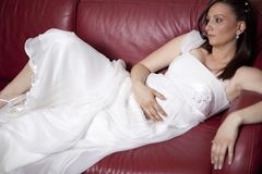 Pregnant young bride Stock Photo