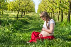 Pregnant young girl sit on grass in the garden Royalty Free Stock Photos
