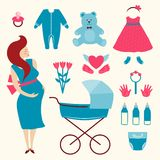 Pregnant Young Woman and Baby Clothes Stock Photography