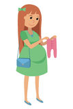 Pregnant young woman chooses clothes for your baby. Flat Vector Illustration of pregnant woman on shopping  on white backg Stock Photo