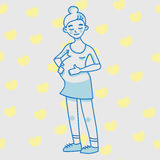 Pregnant young woman. A lady in pink dress. Royalty Free Stock Photos